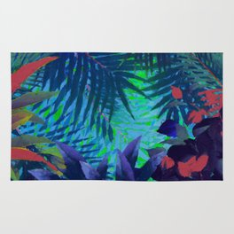 Colorful abstract palm leaves Rug