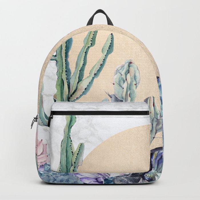 Desert Sun + Gemstones Gold Marble Backpack