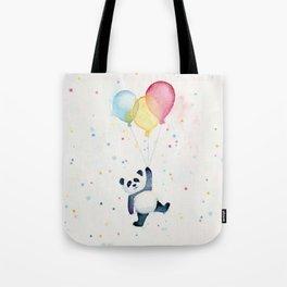 Birthday Panda Balloons Cute Animal Watercolor Tote Bag