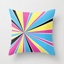 CMYK Star Burst Throw Pillow