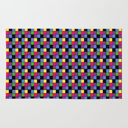 Disco Lights Blocks, Checkered Pattern - Pastel Colors Rug