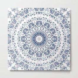 Grayish Blue White Flowers Mandala Metal Print
