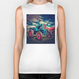 Cool Blue Red Vintage Tractor Biker Tank