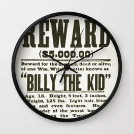 Wanted poster for Billy the Kid Wall Clock