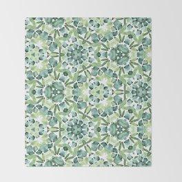 Green petal kaleidoscope  Throw Blanket