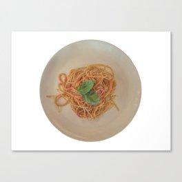 isolated italian spaghetti with tomato sauce and basil Canvas Print