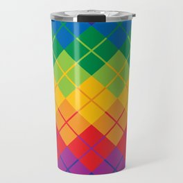 Rainbow Argyle Travel Mug