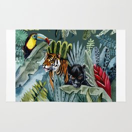 Jungle with tiger and tucan Rug