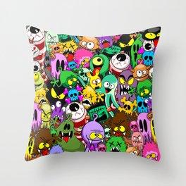 Monsters Doodles Characters Saga Throw Pillow