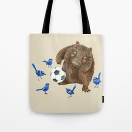 Blue wrens Wombat Football Tote Bag