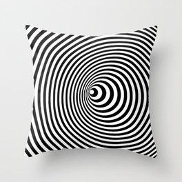 Vortex, optical illusion black and white Throw Pillow
