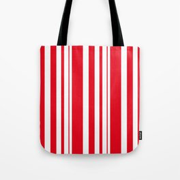 White and red striped . Tote Bag