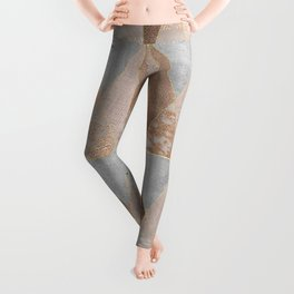 Copper Foil and Blush Rose Gold Marble Triangles Argyle Leggings