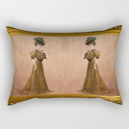 Woman in yellow dress Edwardian Era in Fashion Rectangular Pillow