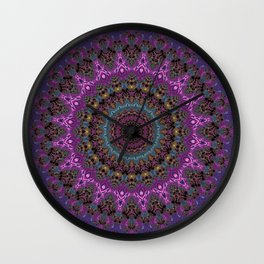 colorful fractal kaleidoscope Wall Clock