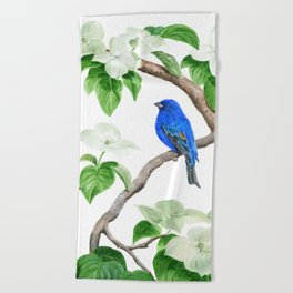 Royal Blue-Indigo Bunting in the Dogwoods by Teresa Thompson Beach Towel