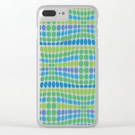 Dottywave - Green Blue wave dots pattern Clear iPhone Case
