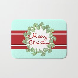 Merry Christmas striped wreath Bath Mat