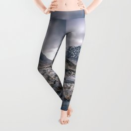 Have Faith Inspirational Typography Over Mountain Leggings