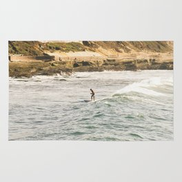 Braving the Surf Mission Beach San Diego California Rug