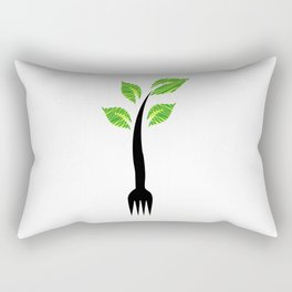 I am vegan- I am vegetarian- A fork with sprouts Rectangular Pillow