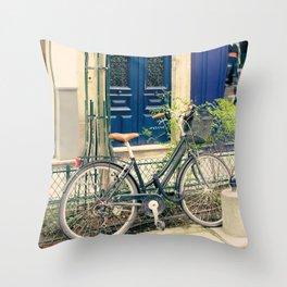 Bicycle in the Marais, Paris Throw Pillow
