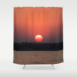 Really red sun Shower Curtain
