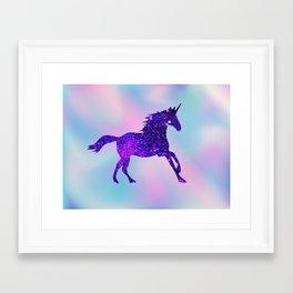 Purple Sparkly Unicorn Framed Art Print
