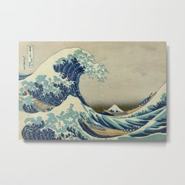 Great Wave Off Kanagawa (Kanagawa oki nami-ura or 神奈川沖浪裏) Metal Print