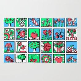 Apples Flowers and Mushrooms Mini Doodle Art Rug