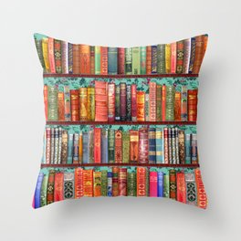 Vintage Books / Christmas bookshelf & holly wallpaper / holidays, holly, bookworm,  bibliophile Throw Pillow