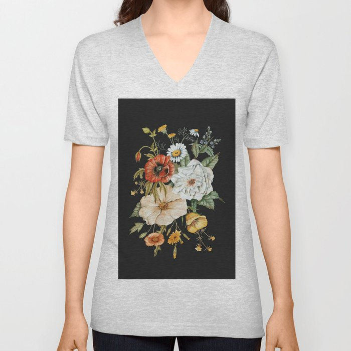 Wildflower Bouquet on Charcoal Unisex V-Neck