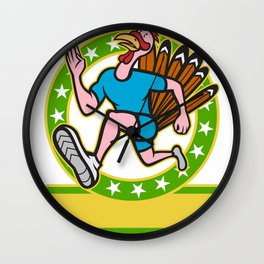 Turkey Run Runner Side Cartoon Wall Clock