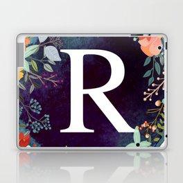 Personalized Monogram Initial Letter R Floral Wreath Artwork Laptop & iPad Skin