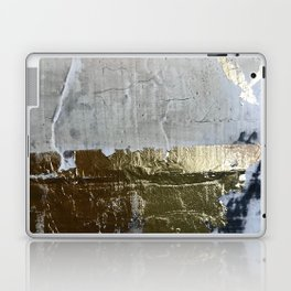 Elegantly Rough: an abstract, minimal piece in gold, pink, black and white by Alyssa Hamilton Art Laptop & iPad Skin
