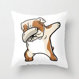 Funny English Bulldog Dabbing Throw Pillow