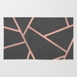 Dark Grey and Rose Gold Textured Fragments - Geometric Design Rug