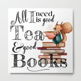 Tea & Books Metal Print