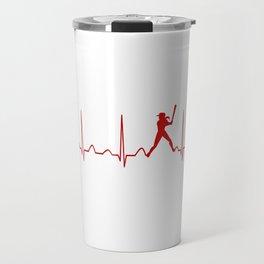 SOFTBALL WOMAN HEARTBEAT Travel Mug