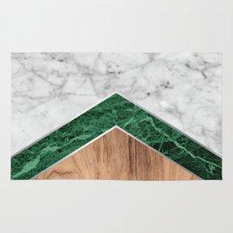 Arrows - White Marble, Green Granite & Wood #941 Rug