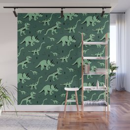 Dinosaur jungle love quirky creatures illustration Wall Mural