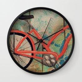 CHOOSE HAPPY - Beach Bike, mixed media Wall Clock