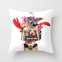 Red Synth Lobster Space Goggle Girl Throw Pillow