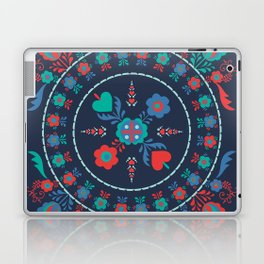 Folk Flowers with Red Border Laptop & iPad Skin