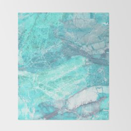 Marble Turquoise Blue Agate Throw Blanket