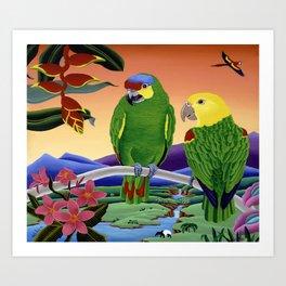 Amazon Parrots Art Print