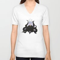 ursula V-neck T-shirts featuring Kokeshi Sea witch by Pendientera