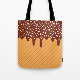 waffles with flowing chocolate sauce and sprinkles Tote Bag