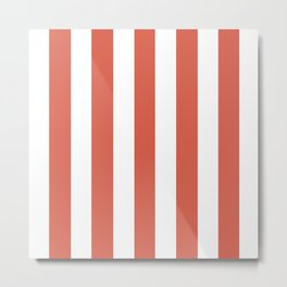 Jelly bean pink - solid color - white vertical lines pattern Metal Print