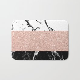Modern black white marble rose gold color block stripes pattern Bath Mat